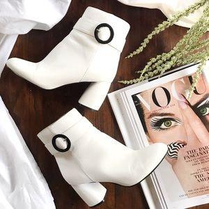 Nine West • Kyra White Retro Booties